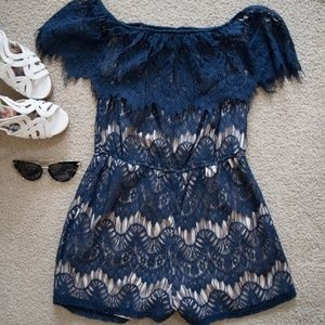 Navy Lace Romper